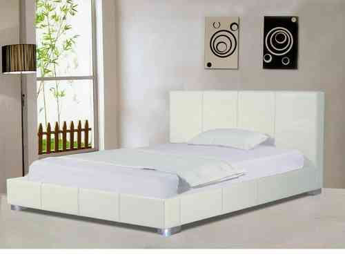 White faux leather bed frame double or king