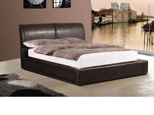 Faux leather bed in double or king, black, brown