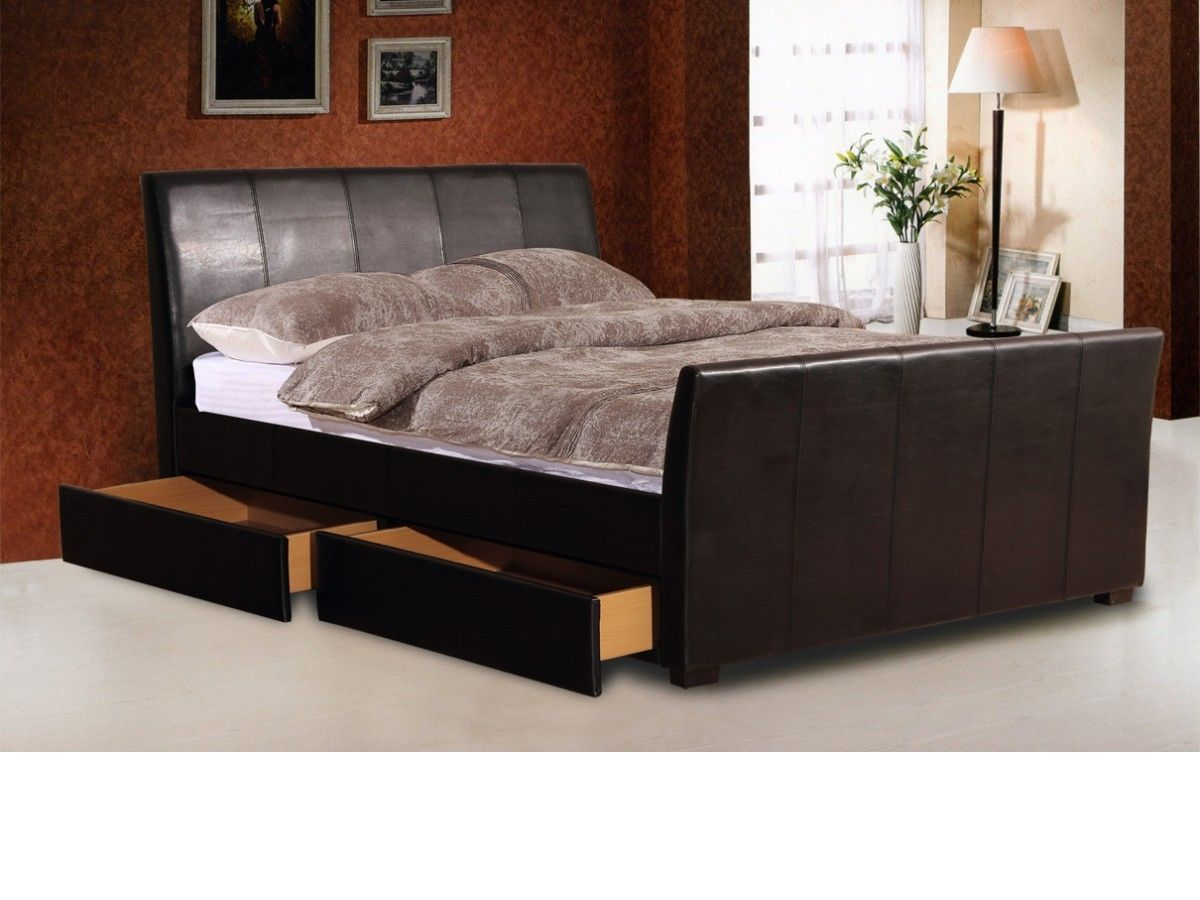 Brown faux leather bed with 2 storage drawers homegenies - Leather beds with storage drawers ...