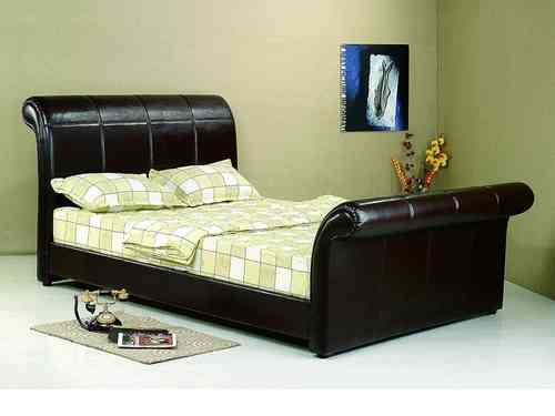 Real leather bed in brown or black ,double, king