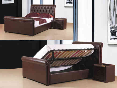Brown faux leather storage bed in double or king size