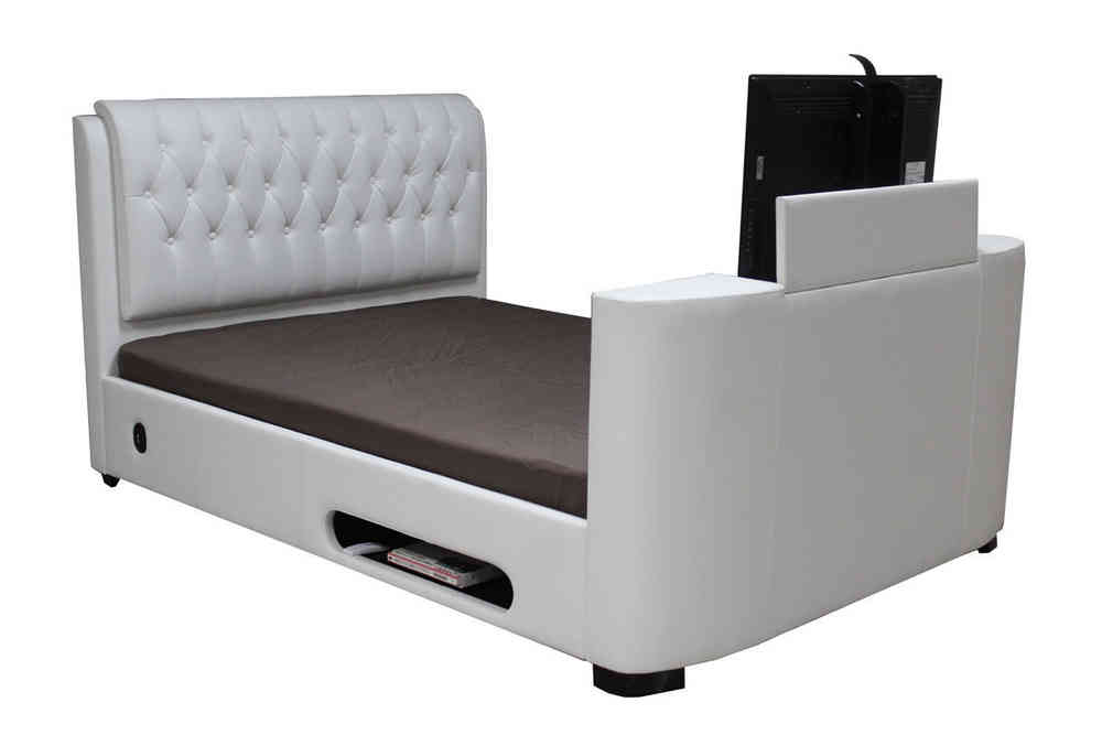 Leather Tv Bed Double King Super White Black Brown Homegenies