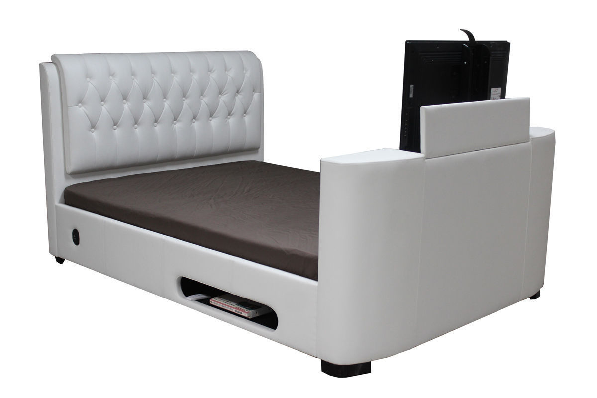 Leather tv bed double king super white black brown - Homegenies