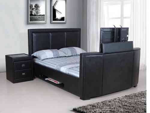 Tv bed frame leather double, king, super, black, brown