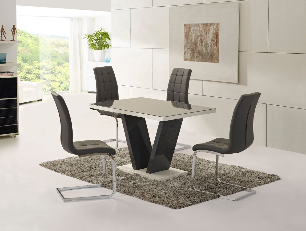 Grey glass high gloss dining table and 4 chairs set for Glass dining table set