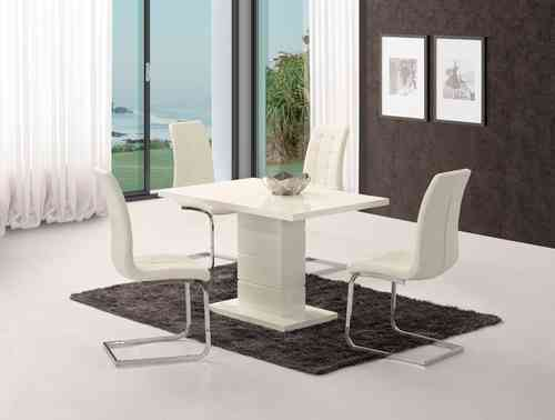White high gloss dining table set with 4 white chairs