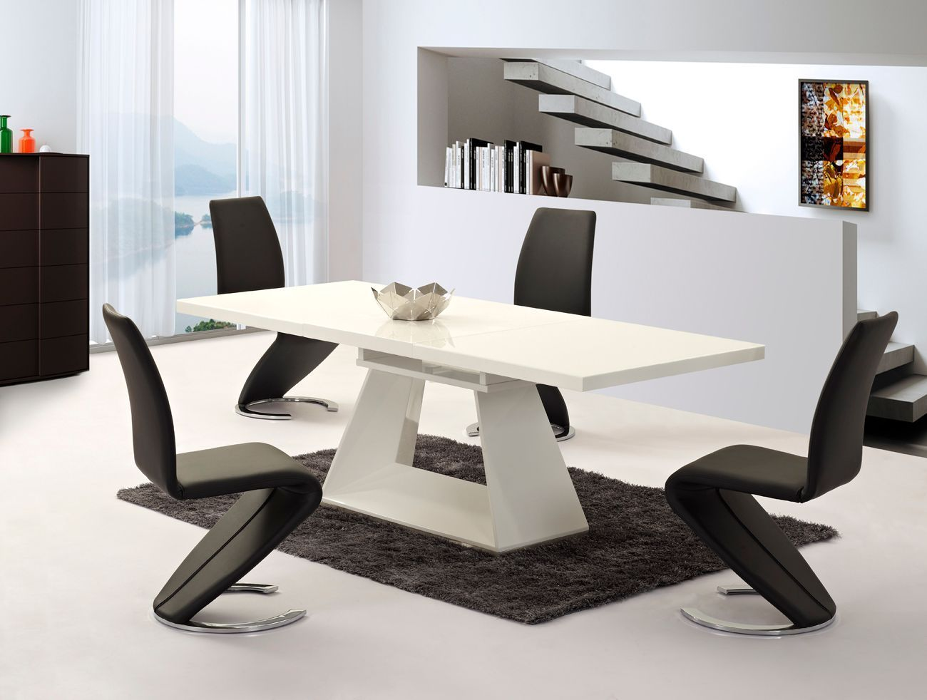 Extending white high gloss dining table and 8 black chairs for High table and chairs dining set