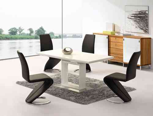 Extending white high gloss dining table and 6Z chairs set