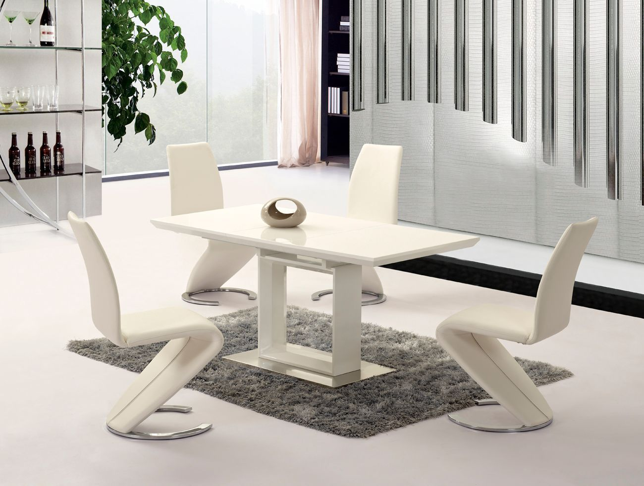 Extending White High Gloss Dining Table With 4 Chairs