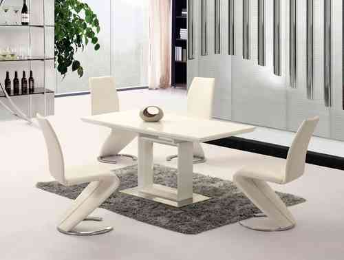 Extending white high gloss dining table with 6 chairs set