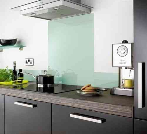Whisper blue glass splashback
