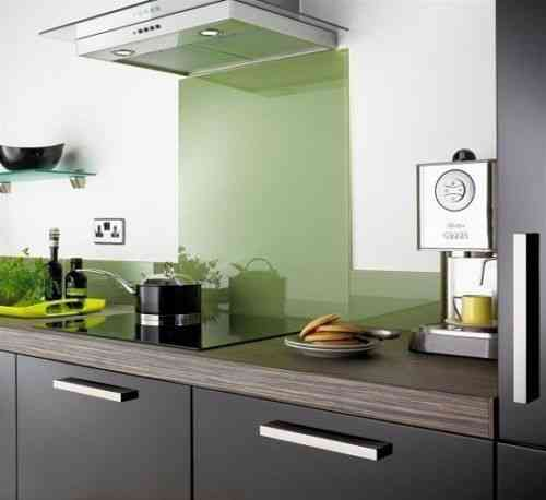 Sage green glass splashback
