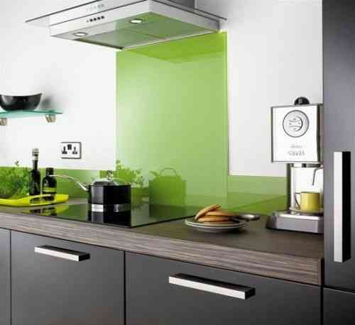 Lime green glass splashback