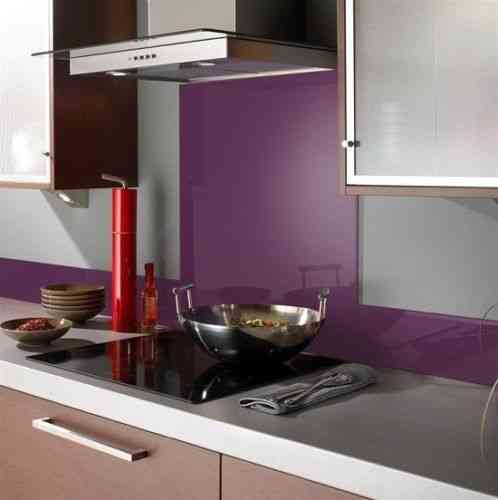 Purple glass splashback