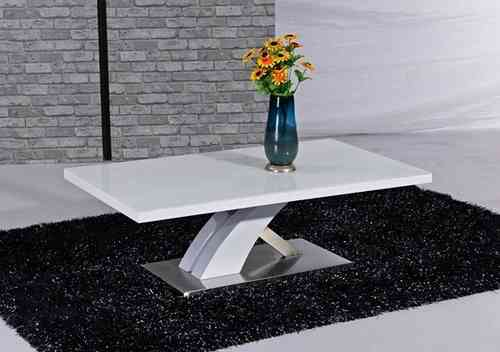 White glass high gloss coffee table