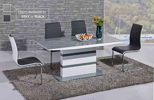White high gloss grey glass dining table and 6 chairs set