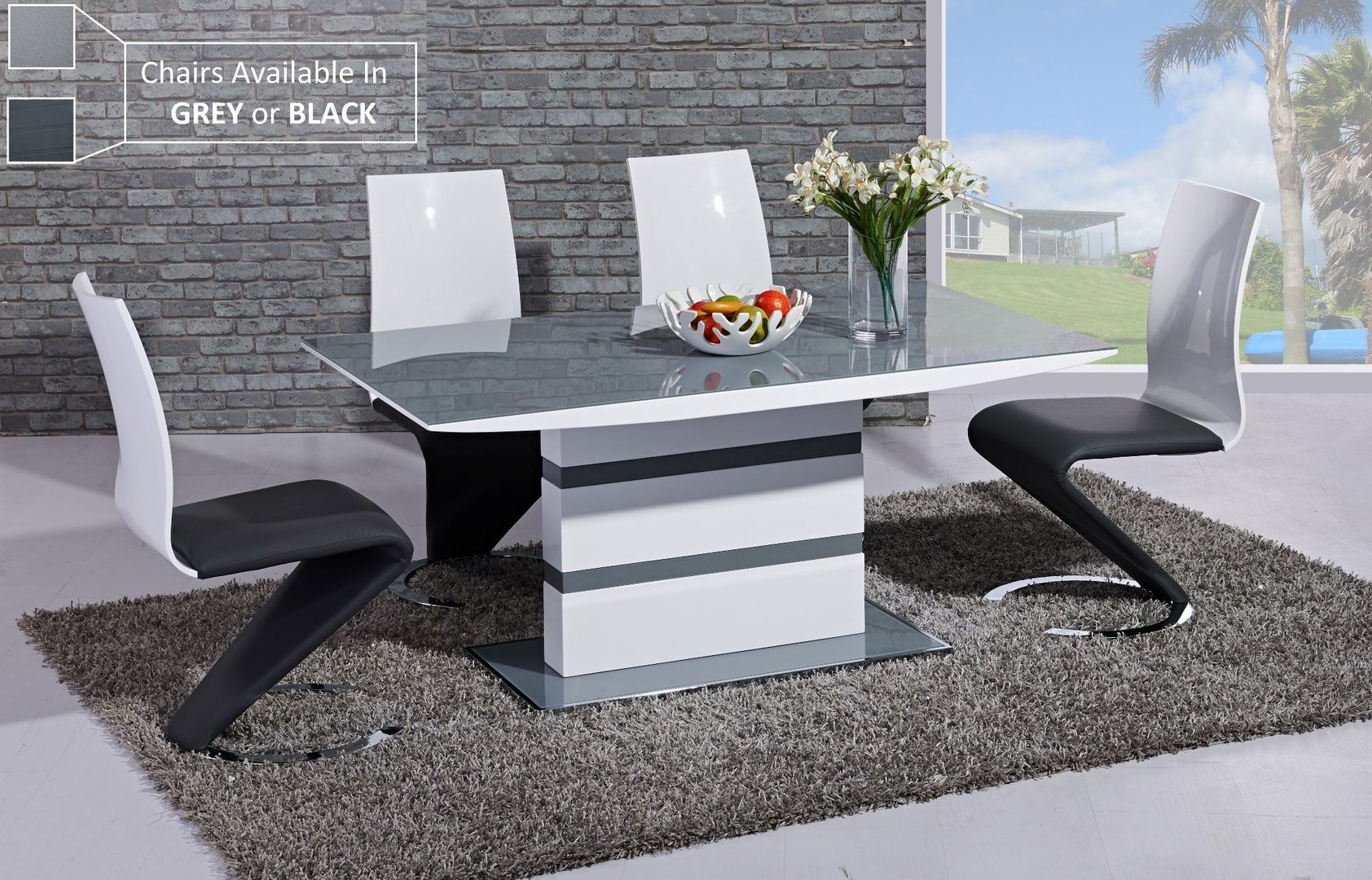 Grey Glass White High Gloss Dining Table And 6 Chairs Homegenies