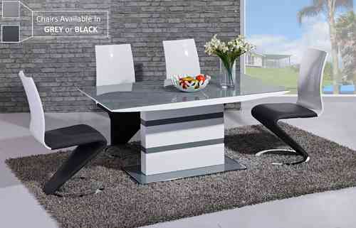 Grey glass white high gloss dining table and 6 chairs set