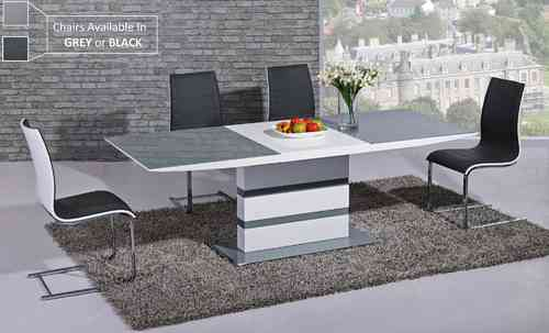 Extending grey glass white high gloss dining table & 6 chairs set