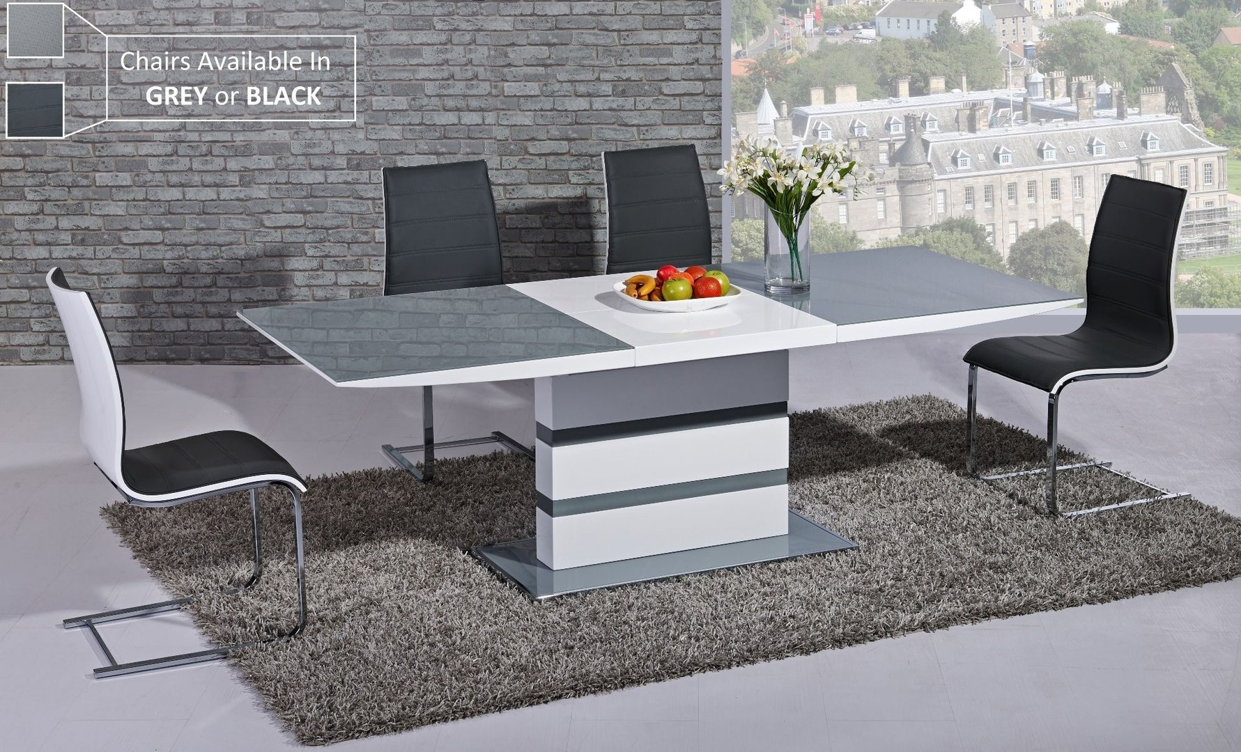 extending grey glass white high gloss dining table 8 chairs. Black Bedroom Furniture Sets. Home Design Ideas
