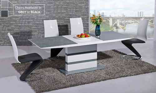 Grey glass white gloss dining table with 6 chairs set