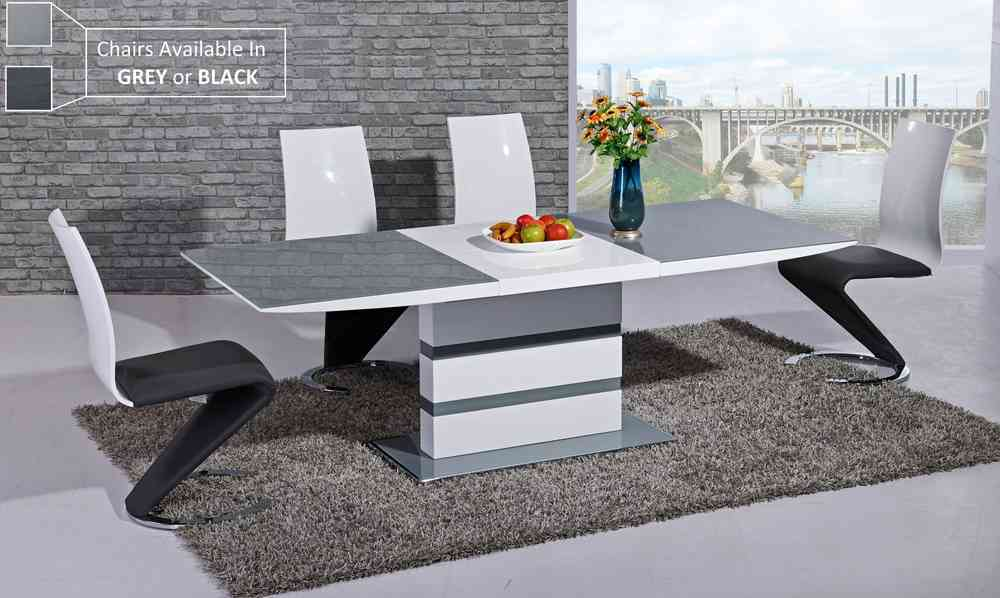 Grey Glass White High Gloss Dining Table And Chairs Homegenies - White kitchen table and 6 chairs