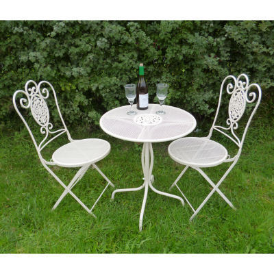 cream bistro metal garden table and chairs set homegenies. Black Bedroom Furniture Sets. Home Design Ideas