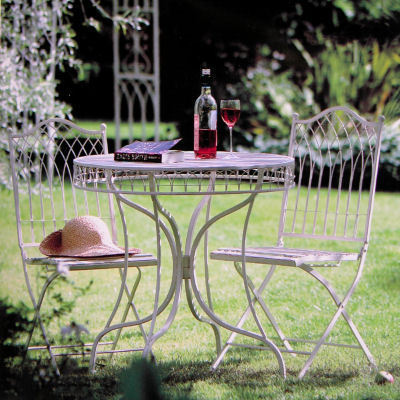 Cream Metal Bistro garden set