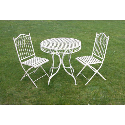 Cream Metal Bistro garden set Homegenies