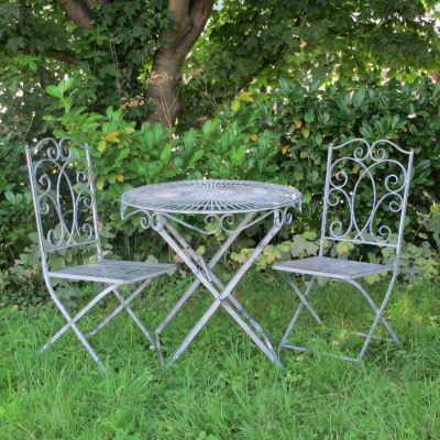 Grey metal garden bistro set