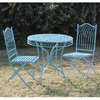 Blue metal garden bistro table and chairs set