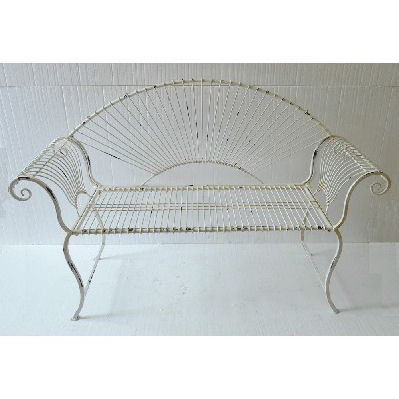 Antique Cream Wire Metal Garden Bench
