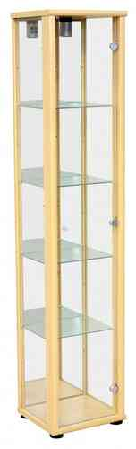 Light Beech Glass Display Cabinet Unit