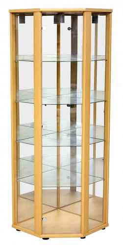 Corner Light Beech Glass Display Cabinet