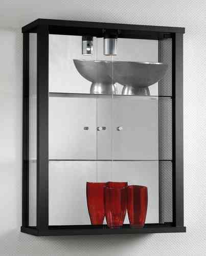 Glass Wall Display Cabinet in Black