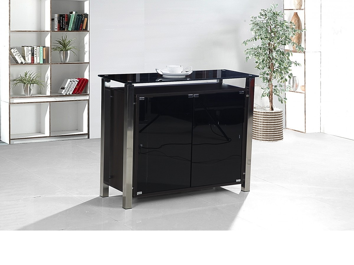 2 Door Black Glass Cabinet Homege