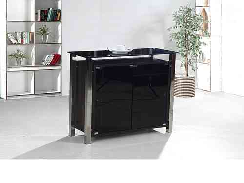 2 Door Black Glass Cabinet