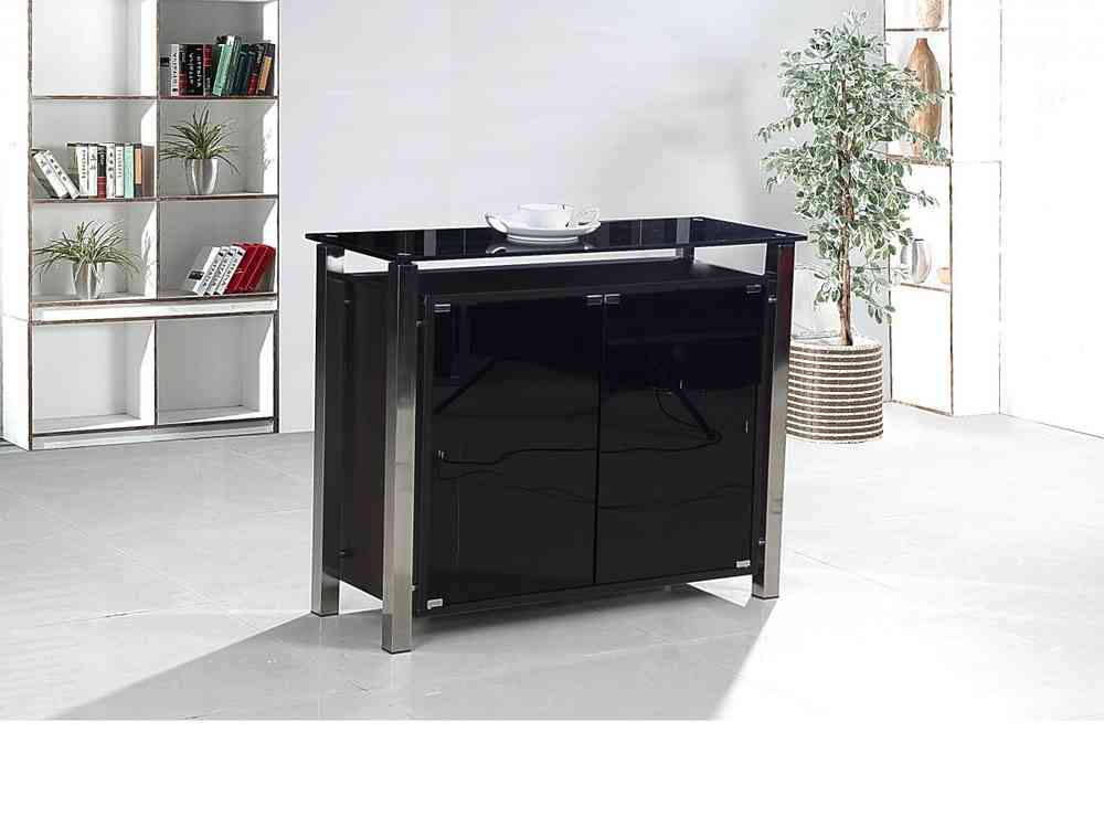 2 Door Black Glass Cabinet Homegenies