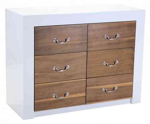 White High Gloss Sideboard with Walnut Veneer