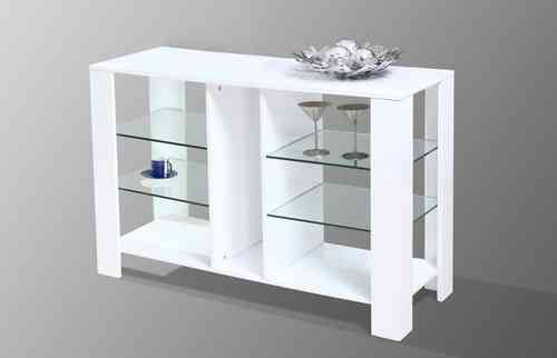 White High Gloss Clear Glass Cabinet