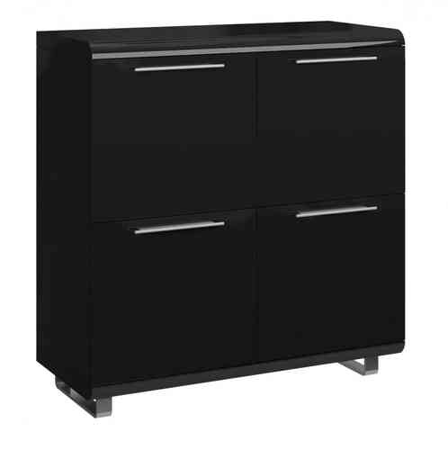 Black High Gloss Sideboard with 4 Doors