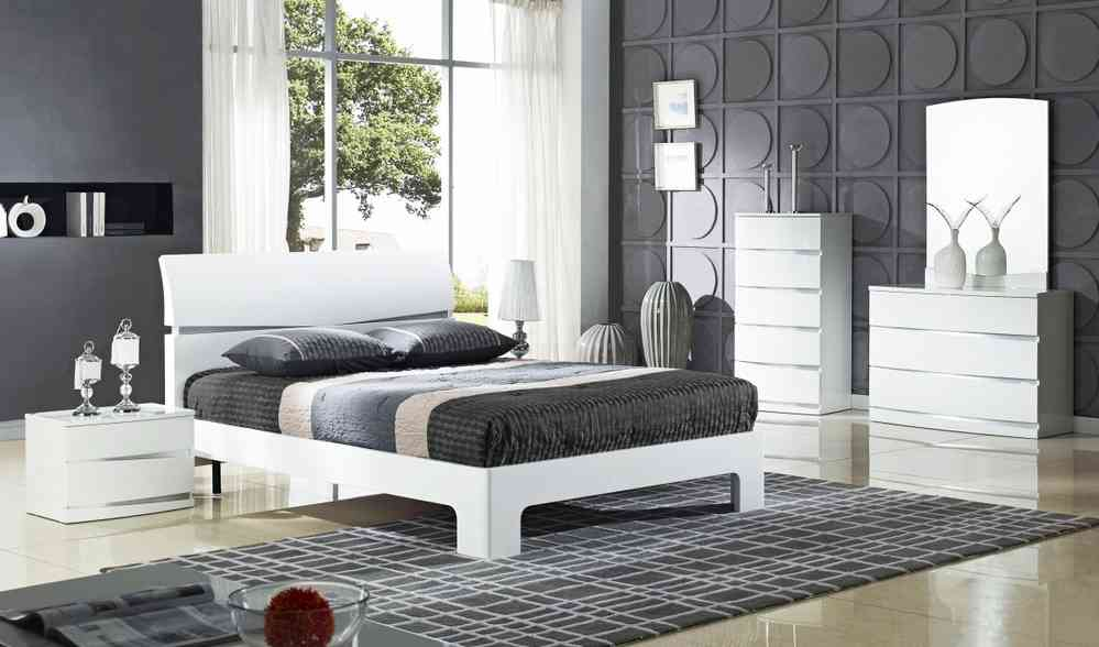 White High Gloss Bedroom Furniture package set