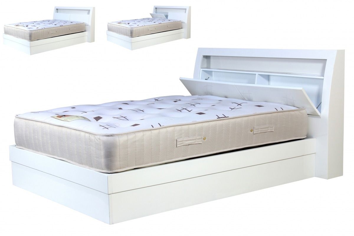 High gloss white storeage bed set homegenies for White gloss bedroom furniture