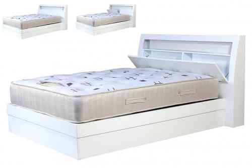 High Gloss White Storeage bed set