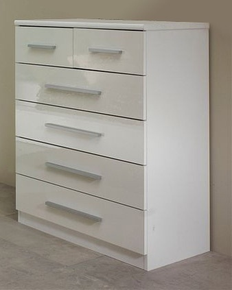 White High Gloss Chest Of Drawers Homegenies