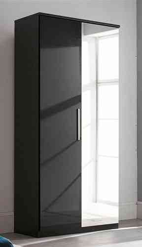 Black High Gloss Bedroom Wardrobe