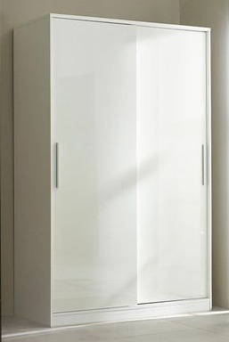 White High Gloss Wardrobe 2 Sliding Doors