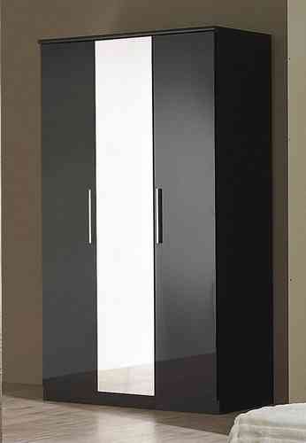 Black High Gloss 3 Door Wardrobe