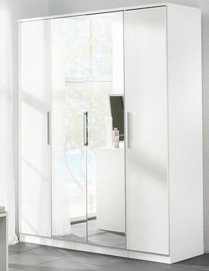 Large White High Gloss bedroom Wardrobe 4 Door