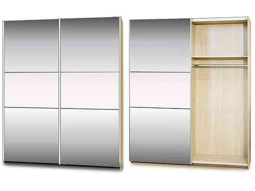 Sliding Bedroom Wardrobe in Maple with Mirror